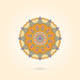 Ornamental colorful mandala on a beige background. Stylish geome Royalty Free Stock Photos