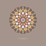 Ornamental colorful mandala on beige background. Royalty Free Stock Photo