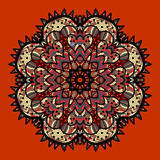 Ornamental colorful vector mandala on red. Art Royalty Free Stock Photography