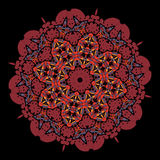 Ornamental colorful vector mandala of red color. Stock Photography
