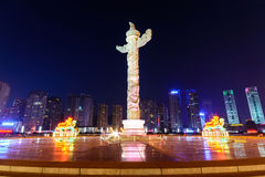 Ornamental column in Xinghai square, Dalian China. At night stock photos