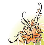 Ornamental corner with flowers, vector Stock Images