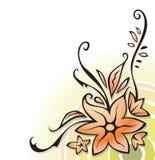 Ornamental corner with flowers, vector. Ornamental corner, floral decoration, on white, element for design, vector illustration Stock Images