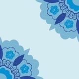 Ornamental corners flowers silhouette pattern. Blue corner flowers  background, Template frame arabesque designs. Orient traditional ornament. Oriental motif Royalty Free Stock Photos
