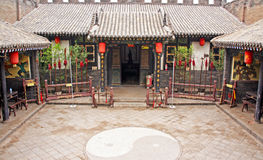 Ornamental courtyard of a historical house in Pingyao, China Royalty Free Stock Photos