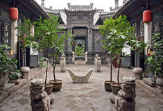 Ornamental courtyard of a historical house in Pingyao, China Royalty Free Stock Image