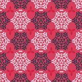 Red Pink and Blue Ornamental Damask Seamless vector illustration