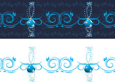 Ornamental dark blue border with Christmas balls. Illustration Royalty Free Stock Image