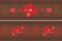 Ornamental dark brown borders with red tulips Stock Photos