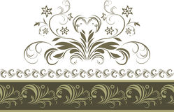 Ornamental dark green border isolated on the white Royalty Free Stock Photos