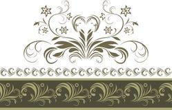 Ornamental dark green border isolated on the white. Illustration stock illustration
