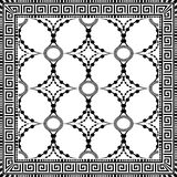 Ornamental decorative black and white greek key meander panel pa. Ttern. Abstract dotted floral ornament. Geometric patterned background. Vintage design with royalty free illustration
