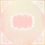 Ornamental decorative blank with frame and corners. Hand drawn vector illustration of white ornamental frame over pink watercolor background.Template for wedding Stock Photo