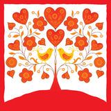 Ornamental decorative card with birds. And hearts on a tree Stock Photography