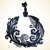 Ornamental decorative cat. Decorative cat with long ornamental tail. Vector illustration Stock Photos