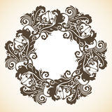 Ornamental decorative Christmas wreath. Vector round frame Royalty Free Stock Photo
