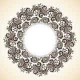Ornamental decorative Christmas wreath. Vector round frame Stock Photo