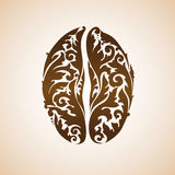 Ornamental decorative coffee bean. Decorative coffee bean sign with floral pattern Royalty Free Stock Images