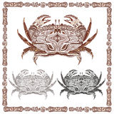 Ornamental decorative crab in black and brown stock illustration