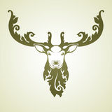 Ornamental decorative deer. Decorative deer illustration with floral pattern. Vector ornamental illustration Royalty Free Stock Photography