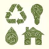 Ornamental decorative eco symbols icons set. Recycle Symbol house drop light bulb. Vector illustration. Ornamental decorative eco symbols icons set. Recycle Royalty Free Stock Photo