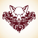 Ornamental decorative fox. With floral pattern. Vector illustration Royalty Free Stock Image