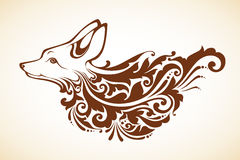 Ornamental decorative fox. With floral pattern. Vector illustration Stock Photos