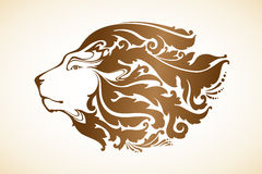 Ornamental decorative lion. With floral pattern. Vector illustration Royalty Free Stock Photography