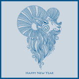Ornamental decorative symbol of the new year / sheep / goat / 20. 15 stock illustration