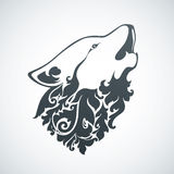 Ornamental decorative wolf. With floral pattern. Vector illustration Royalty Free Stock Images