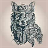Ornamental decorative wolf, predator, pattern. Ornamental vintage wolf predator, black and white tattoo, decorative retro style. Isolated vector illustration Royalty Free Stock Photos
