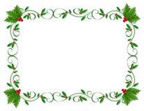 Ornamental del acebo de la frontera de la Navidad Imagen de archivo libre de regalías