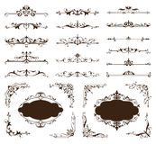 Ornamental design borders and corners Vector set of vintage ornaments.  Stock Images