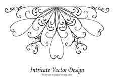 Ornamental design element vector, scalloped lace border or edge with curls and swirls in symmetrical pattern, wedding d Royalty Free Stock Photography