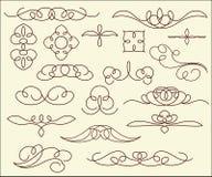 Ornamental design elements,  series.Brown. Stock Photos