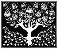 Ornamental Design with Magnolia Tree Stock Photography