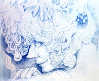 Ornamental detailed drawing of elven man head. Listening to the crystals of birdsong, linear monochromatic fantasy profile portrait, wallpaper intricate pattern Royalty Free Stock Image