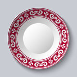Ornamental dish with red pattern in the style of ethnic porcelain painting. Empty Space for text in the center. Vector illustration vector illustration