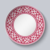 Ornamental dish with red pattern in the style of ethnic porcelain painting. Empty Space for text in the center. Vector illustration stock illustration