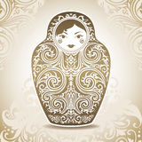 Ornamental doll on patterned background. Vector illustration Stock Photography