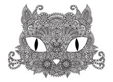 Ornamental doodle cat Stock Photo