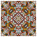 Ornamental doodle floral pattern, design for pocket square, textile, silk shawl, pillow, scarf. Royalty Free Stock Images