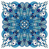 Ornamental doodle floral pattern, design for pocket square, textile, silk shawl, pillow, scarf. Stock Photography
