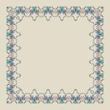 Ornamental doodling floral frame. Bright elements, unicolour background Vector Illustration