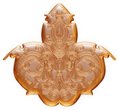 Ornamental dourado com etiqueta do metal no fundo branco isolado Imagens de Stock