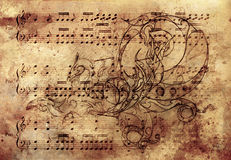 Ornamental dragon, tattoo drawing over vintage paper. And Musical note Royalty Free Stock Photography