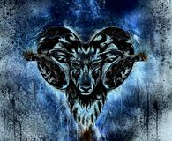 Ornamental drawing of Aries, sacred animal symbol. Color effect. Ornamental drawing of Aries, sacred animal symbol. Color effect stock images