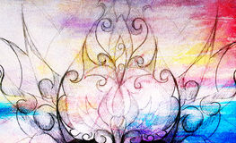 Ornamental Drawing. Original hand draw and computer collage. Color structure. Royalty Free Stock Photo