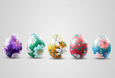 Ornamental easter eggs collection Stock Photos
