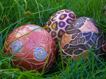 Ornamental eggs in the garden Stock Image